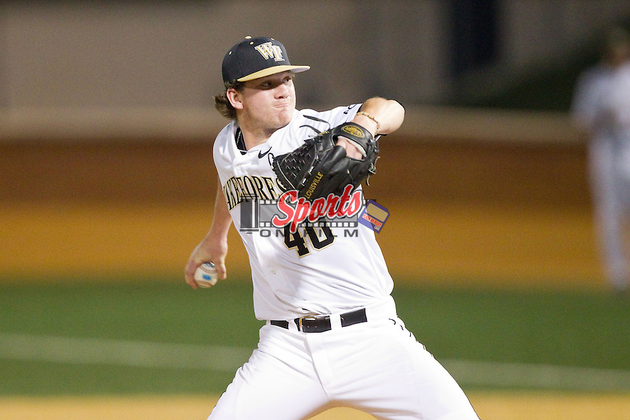 Wake Forest Demon Deacons relief pitcher Connor Kaden (40) in action against the High Point Panthers at Wake Forest Baseball Park on April 2, 2014 in Winston-Salem, North Carolina.  The Demon Deacons defeated the Panthers 10-6.  (Brian Westerholt/Sports On Film)