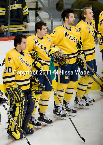 Adam Janecyk (Michigan - 30), ?, Greg Pateryn (Michigan - 2), Carl Hagelin (Michigan - 12) - The University of Minnesota-Duluth Bulldogs defeated the University of Michigan Wolverines 3-2 (OT) to win the 2011 D1 National Championship on Saturday, April 9, 2011, at the Xcel Energy Center in St. Paul, Minnesota.