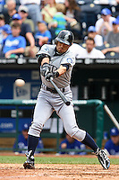 Seattle center fielder Ichiro Suzuki singles in the ninth inning against the Royals at Kauffman Stadium in Kansas City, Missouri on May 27, 2007.  The Mariners won 7-4.