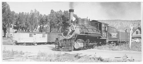RGS #74 switching in Ridgway yard.<br /> RGS  Ridgway, CO  8/1951