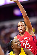 Washington, DC - June 15, 2018: Washington Mystics forward Monique Currie (25) a tempts a block during game between the Washington Mystics and Los Angeles Sparks at the Capital One Arena in Washington, DC. (Photo by Phil Peters/Media Images International)