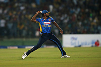 February 26th 2020, the Mahinda Rajapaksha International Stadium, Hambantota, Sri Lanka; One Day International cricket, Sri Lanka versus West Indies; Nuwan Pradeep throws the ball in from the boundary