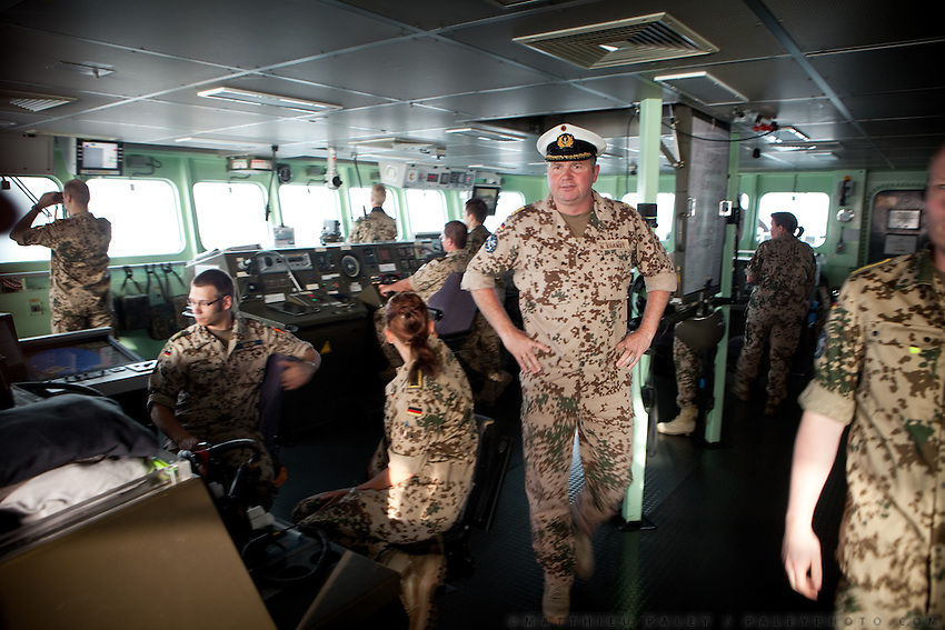 "Frigate Captain Nils Brandt returns to Djibouti harbour after an operation carried out by the German navy...German Navy Force working with Operation Atalanta (EU anti-piracy mission) and OEF (Operation Enduring Freedom) on sea reconnaissance mission using a battleship called ""Schleswig-Holstein"", to identify potential piracy activities off the coast of Somalia...The geostrategical and geopolitical importance of the Republic of Djibouti, located on the Horn of Africa, by the Red Sea and the Gulf of Aden, and bordered by Eritrea, Ethiopia and Somalia."