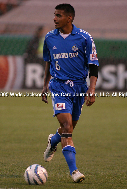 25 May 2005, Jose Burciaga Jr. of the Wizards looks upfield as he carries the ball.  The MLS Kansas City Wizards shut out the Metrostars by a score of 1-0 in a hard fought regular season MLS match at Arrowhead Stadium, Kansas City, Missouri.  .. ..