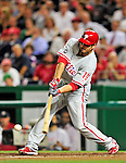 28 September 2010: Philadelphia Phillies' infielder Greg Dobbs in action against the Washington Nationals at Nationals Park in Washington, DC. The Nationals defeated the Phillies 2-1 on an Adam Dunn walk-off solo homer in the 9th inning to even up their 3-game series one game apiece. Mandatory Credit: Ed Wolfstein Photo