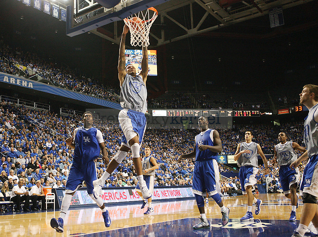 Kentucky Wildcats forward Willie Cauley-Stein (15) dunks the ball during the second half of the Blue-White scrimmage at Rupp Arena in Lexington, Ky., on Tuesday, October 29, 2013. Photo by Tessa Lighty | Staff