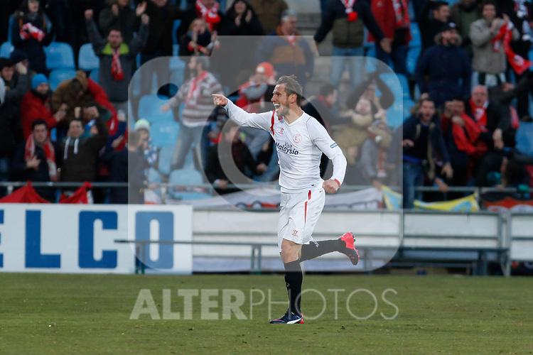 Sevilla´s Crychowiak celebrates a goal during 2014-15 La Liga match at Alfonso Perez Coliseum stadium in Getafe, Spain. February 08, 2015. (ALTERPHOTOS/Victor Blanco)