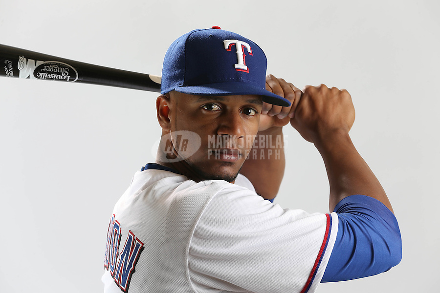 Feb. 20, 2013; Surprise, AZ, USA: Texas Rangers outfielder Julio Borbon poses for a portrait during photo day at Surprise Stadium. Mandatory Credit: Mark J. Rebilas-