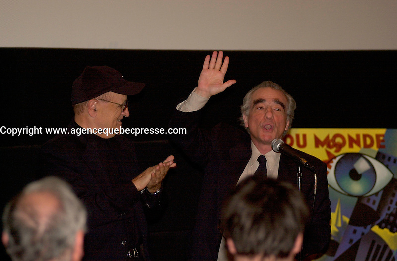 Sept 6 2003, Montreal, Quebec, CANADA<br /> <br /> Martin Scorcese (R ) joins Serge LOsique (L) , President World Film Festival before the screning of his movie MEAN STREET ast the 2003  Montreal World Film Festival<br /> <br /> Photo by Pierre Roussel - Images Distribution<br /> (c) 2003, Pierre Roussel
