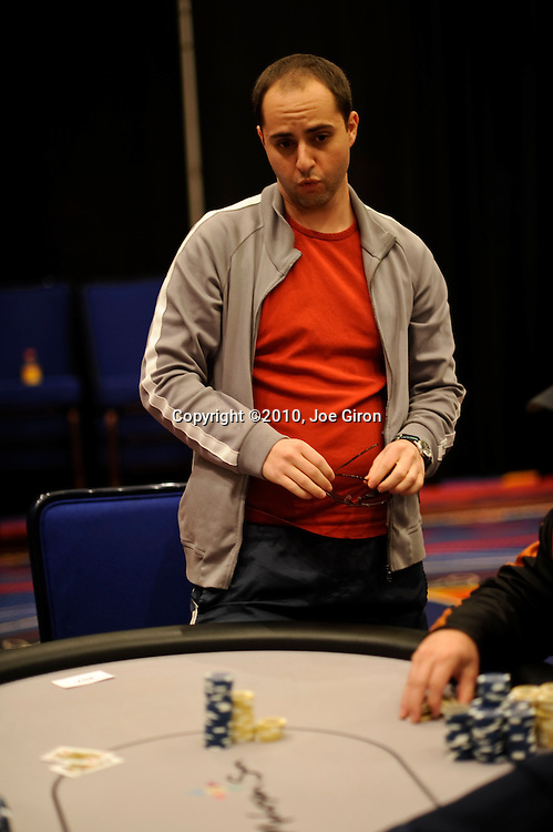 Robert Saltiel reacts to seeing his card hit on the river for a double up.