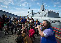 130501-N-DR144-882 COOK INLET, Alaska (May 1, 2013)- Alaska Natives from villages around south central Alaska perform as the Ida'ina Dance Group during a welcoming ceremony for San Antonio-class amphibious transport dock ship USS Anchorage (LPD 23) at the Port of Anchorage. Anchorage arrived at its namesake city of Anchorage, Alaska for its commissioning ceremony scheduled to take place May 4. (U.S. Navy photo by Mass Communication Specialist 1st Class James R. Evans / RELEASED)