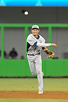 7 March 2012:  FIU infielder Jeremy Bajdaun (41) throws to first base as the Miami Marlins defeated the FIU Golden Panthers, 5-1, at Marlins Park in Miami, Florida.