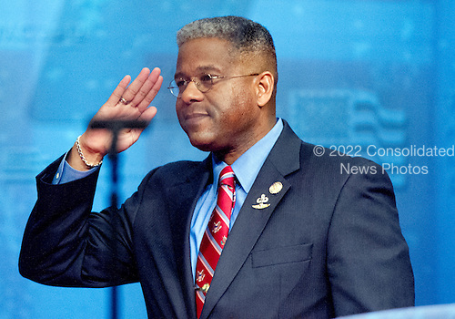United States Representative Allen West (Republican of Florida) salutes the crowd after making remarks at the 2012 CPAC Conference at the Marriott Wardman Park Hotel in Washington, D.C. on Friday, February 10, 2012..Credit: Ron Sachs / CNP