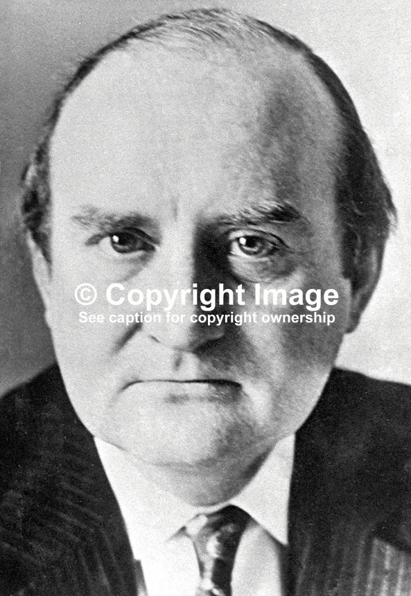 Sir Frank Cooper, Permanent Secretary, N Ireland Office, rumoured to be UK Government intermediary in secret talks with the Provisional IRA which  led to a ceasefire in 1975. 197508210608.<br />