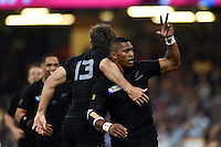 Waisake Naholo of New Zealand celebrates scoring a try. Rugby World Cup Pool C match between New Zealand and Georgia on October 2, 2015 at the Millennium Stadium in Cardiff, Wales. Photo by: Patrick Khachfe / Onside Images