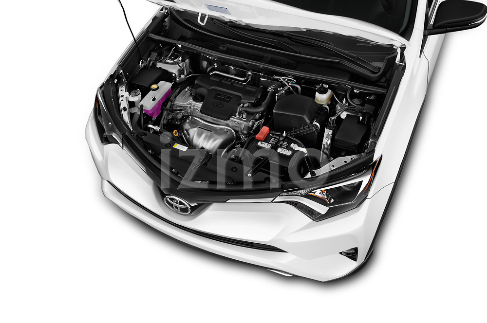 Car stock 2018 Toyota RAV4 Adventure 5 Door SUV engine high angle detail view
