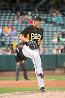 Adam Wilk (29) of the Salt Lake Bees delivers a pitch to the plate against the Oklahoma City Dodgers in Pacific Coast League action at Smith's Ballpark on May 25, 2015 in Salt Lake City, Utah.  (Stephen Smith/Four Seam Images)