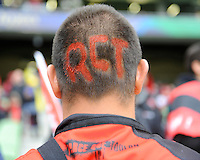 A Toulon fan shows commitment by shaving his head for the Heineken Cup Final between ASM Clermont Auvergne and RC Toulon at the Aviva Stadium, Dublin on Saturday 18th May 2013 (Photo by Rob Munro)