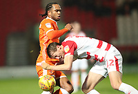 Blackpool's Nathan Delfouneso and Doncaster Rovers' Tom Anderson<br /> <br /> Photographer Rachel Holborn/CameraSport<br /> <br /> The EFL Sky Bet League One - Doncaster Rovers v Blackpool - Tuesday 27th November 2018 - Keepmoat Stadium - Doncaster<br /> <br /> World Copyright &copy; 2018 CameraSport. All rights reserved. 43 Linden Ave. Countesthorpe. Leicester. England. LE8 5PG - Tel: +44 (0) 116 277 4147 - admin@camerasport.com - www.camerasport.com