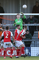 Billy Crellin of Fleetwood Town punches the ball clear during Barnet vs Fleetwood Town, Emirates FA Cup Football at the Hive Stadium on 10th November 2019