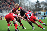 Petrus du Plessis goes on the attack. Aviva Premiership match, between Saracens and London Welsh on March 3, 2013 at Allianz Park in London, England. Photo by: Patrick Khachfe / Onside Images