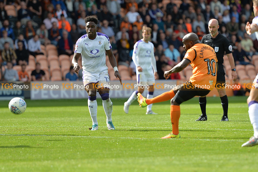 Jamal Campbell-Ryce of Barnet shoots during Barnet vs Luton Town, Sky Bet EFL League 2 Football at the Hive Stadium on 12th August 2017
