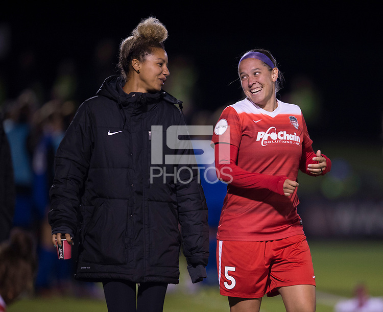 Boyds, MD - Saturday September 30, 2017: Estelle Johnson and Whitney Church during a regular season National Women's Soccer League (NWSL) match between the Washington Spirit and the Seattle Reign FC at Maureen Hendricks Field, Maryland SoccerPlex.