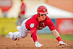 24 February 2019: St. Louis Cardinals fielder Drew Robinson dives safely into third with a triple during a Spring Training game against the Washington Nationals at Roger Dean Stadium in Jupiter, Florida. The Cardinals fell to the Nationals 12-2 in Grapefruit League play. Mandatory Credit: Ed Wolfstein Photo *** RAW (NEF) Image File Available ***
