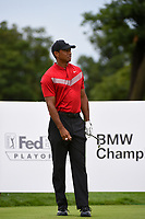 Tiger Woods (USA) watches his tee shot on 2 during Rd4 of the 2019 BMW Championship, Medinah Golf Club, Chicago, Illinois, USA. 8/18/2019.<br /> Picture Ken Murray / Golffile.ie<br /> <br /> All photo usage must carry mandatory copyright credit (© Golffile | Ken Murray)