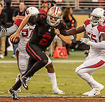 San Francisco 49ers quarterback Blaine Gabbert (2) runs out of pocket on Thursday, October 06, 2016 at Levis Stadium in Santa Clara, California. The Cardinals defeated the 49ers 33-21.
