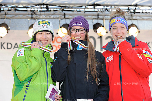 (L-R) Miki Ito (JPN), Chloe Dufour-Lapointe (CAN), Hannah Kearney (USA),.MARCH 8, 2013 - Moguls :.Silver medalist Miki Ito of Japan, gold medalist Chloe Dufour-Lapointe of Canada and bronze medalist Hannah Kearney of the United States pose on the podium with their medals at the women's dual moguls award ceremony during the FIS Freestyle World Ski Championships in Voss-Myrkdalen, Norway. (Photo by Hiroyuki Sato/AFLO)