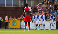 Jordy Hiwula of Fleetwood Town looks dejected after his side concede their second goal during the Sky Bet League 1 match between Bristol Rovers and Fleetwood Town at the Memorial Stadium, Bristol, England on 26 August 2017. Photo by Mark  Hawkins.