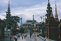 The main terrace of the Shwedagon Pagoda is studded with countless stupas, shrines, temples and planetary posts.