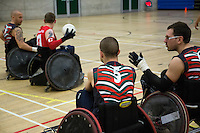27 MAY 2013 - DONCASTER, GBR - Leicester Tigers players watch play during the 2013 Great Britain Wheelchair Rugby Nationals 5th / 6th position decider against the East Midlands Marauders at The Dome in Doncaster, South Yorkshire, Great Britain .(PHOTO (C) 2013 NIGEL FARROW)