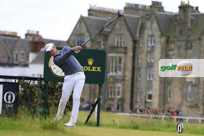 Danny WILLETT (ENG) tees off the 2nd tee during Sunday's Round 3 of the 144th Open Championship, St Andrews Old Course, St Andrews, Fife, Scotland. 19/07/2015.<br /> Picture Eoin Clarke, www.golffile.ie