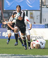 New Zealand number 8 Liukanasi Manu leaves England in his wake during the Division A U19 World Chanpionship match at Ravenhill, Belfast.
