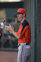 AZL Giants Orange manager Bill Horton (33) during an Arizona League game against the AZL Athletics at Lew Wolff Training Complex on June 25, 2018 in Mesa, Arizona. AZL Giants Orange defeated the AZL Athletics 7-5. (Zachary Lucy/Four Seam Images)