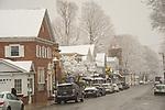 North Main Street shops, Essex, CT. in winter.