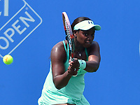 Washington, DC - August 1, 2017: Sloane Stephens of the USA plays during a match with Simona Halep of Romania at the Citi Open held at the Rock Creek Tennis Center in Washington, D.C., August 1, 2017.  (Photo by Don Baxter/Media Images International)