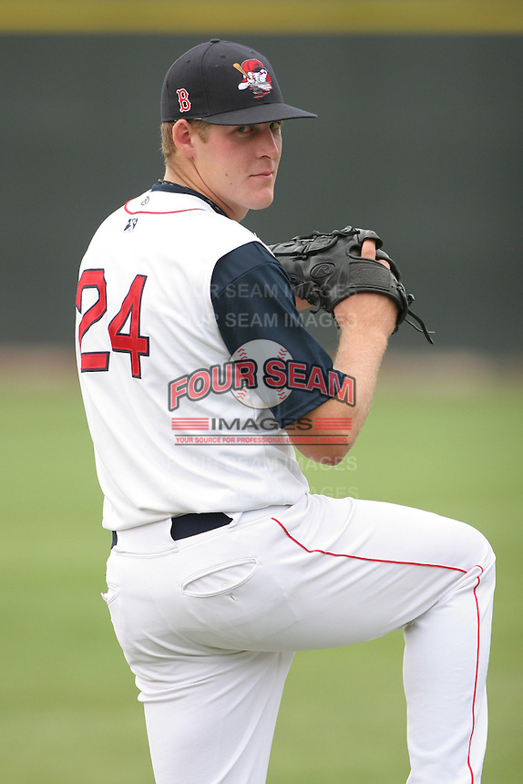 Nick Hagadone of the Lowell Spinners, Class-A affiliate of the Boston Red Sox, during the New York-Penn League season.  Photo by:  Mike Janes/Four Seam Images