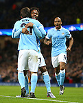 David Silva of Manchester City celebrates his opening goal with Raheem Sterling - Manchester City vs Monchengladbach - UEFA Champions League - Etihad Stadium - Manchester - 08/12/2015 Pic Philip Oldham/SportImage