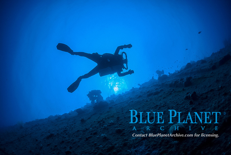 Diver, silouette, rebreather, hull of ship, encrusted, Operation Hailstone, Wreck, WWII, Japanese shipwreck, Chuuk, Micronesia, Truk, Chuuk Lagoon, Pacific Ocean, MR