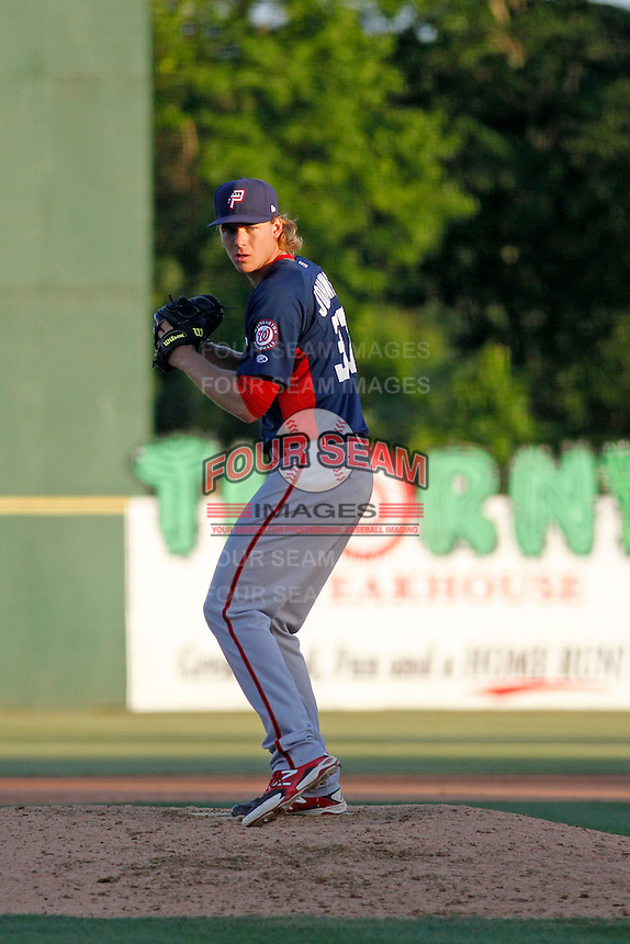 Potomac Nationals pitcher Jake Johansen (37) on the mound during a game against the Myrtle Beach Pelicans at Ticketreturn.com Field at Pelicans Ballpark on May 23, 2015 in Myrtle Beach, South Carolina.  Myrtle Beach defeated Potomac 7-3. (Robert Gurganus/Four Seam Images)