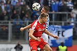 02.12.2018, Schauinsland-Reisen-Arena, Duisburg, GER, 2. FBL, MSV Duisburg vs. Holstein Kiel, DFL regulations prohibit any use of photographs as image sequences and/or quasi-video<br /> <br /> im Bild Kopfball / Kopfballduell John Verhoek (#15, MSV Duisburg)  Hauke Wahl (#24, Holstein Kiel) <br /> <br /> Foto &copy; nordphoto/Mauelshagen
