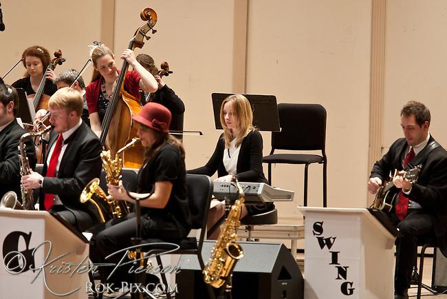 Beantown Swing Orchestra perform at the Veterans Memorial Auditorium in Providence, Rhode Island, with special guests Erika Van Pelt, John Stevens, Jen Hirsh, and Laura Brunner. December 9, 2012