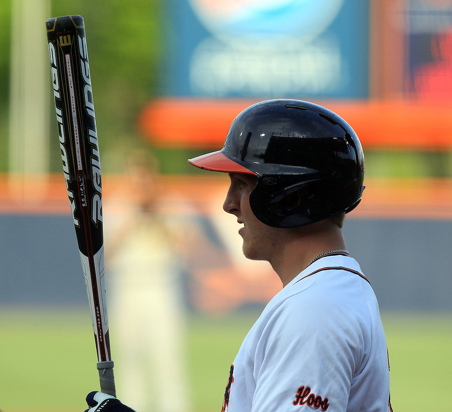Virginia outfielder Joe McCarthy (31) takes a moment before stepping up to the plate during the game Tuesday night at Davenport Stadium in Charlottesville, VA. Photo/The Daily Progress/Andrew Shurtleff