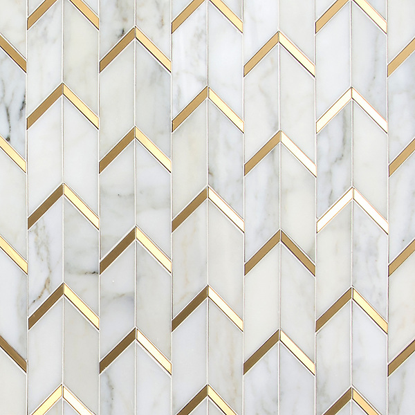 Belen, a hand-cut stone mosaic, shown in polished Calacatta and brushed Brass, is part of the Bright Young Things™ collection by New Ravenna.