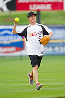 Kasey Kahne (5) of Team NASCAR during the NASCAR vs NHRA Charity Softball Challenge at CMC-Northeast Stadium on April 17, 2013 in Kannapolis, North Carolina.  Team NHRA defeated Team NASCAR 19-5.  (Brian Westerholt/Four Seam Images)