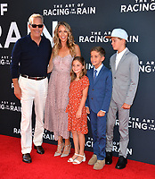 "LOS ANGELES, USA. August 02, 2019: Kevin Kostner, Christine Baumgartner & Family at the premiere of ""The Art of Racing in the Rain"" at the El Capitan Theatre.<br /> Picture: Paul Smith/Featureflash"