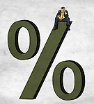 Illustrative image of businessman sitting on percentage sign representing debt